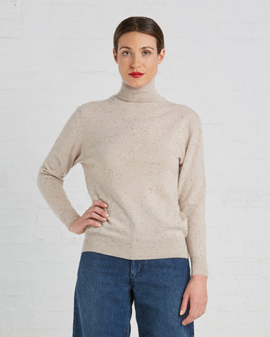 Ryan Roche Cashmere Turtleneck Sweater | Bambi Cashmere Tweed