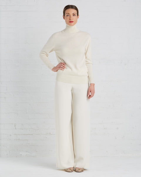 Ryan Roche Wide-leg Silk Pants in Ivory | Made in New York