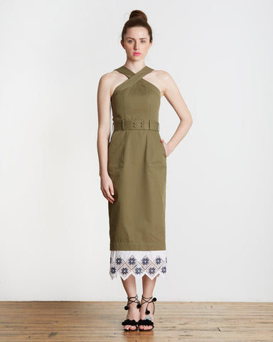 Suno Cross Halter Pencil Dress | Olive