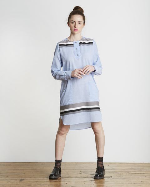 SUNO Striped Hem Tunic Shirt Dress