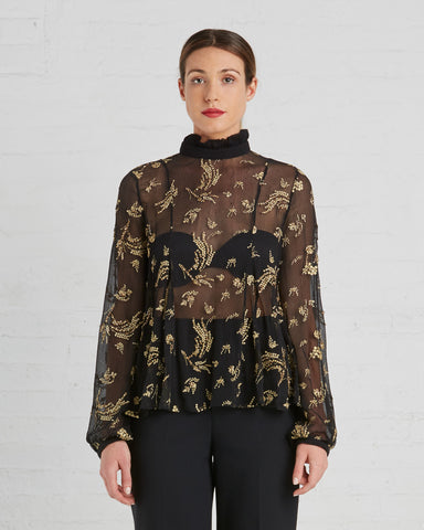 Suno Black And Gold Floral Chiffon Blouse