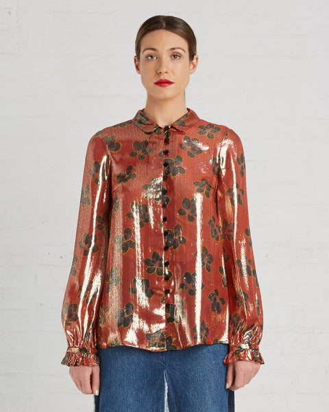 Suno Metallic Orange Silk Blouse with Floral Print