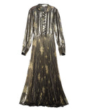 SUNO Olive Metallic Long Sleeve Pleated Maxi Dress | flat view