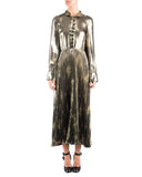SUNO Olive Metallic Long Sleeve Pleated Dress  | side view