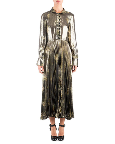 SUNO Olive Metallic Long Sleeve Pleated Maxi Dress