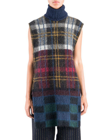 Suno Sleeveless Multicolored Plaid Mohair Tunic