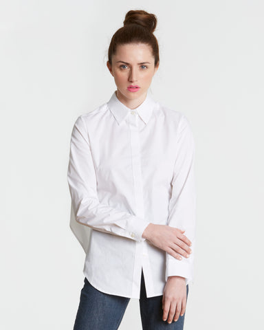 TOME White Cotton Poplin Tie Back Shirt