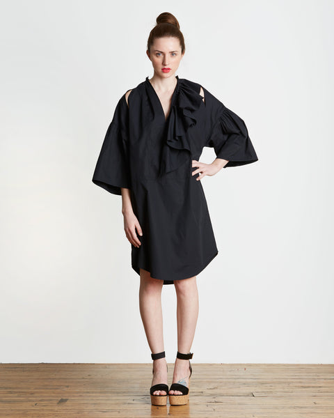 TOME Cotton Ruffled Peasant Tunic in Black