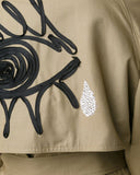 TOME Tailored Trench Coat with embroidered evil eye and Swarovksi crystal-embellished tear drop detail