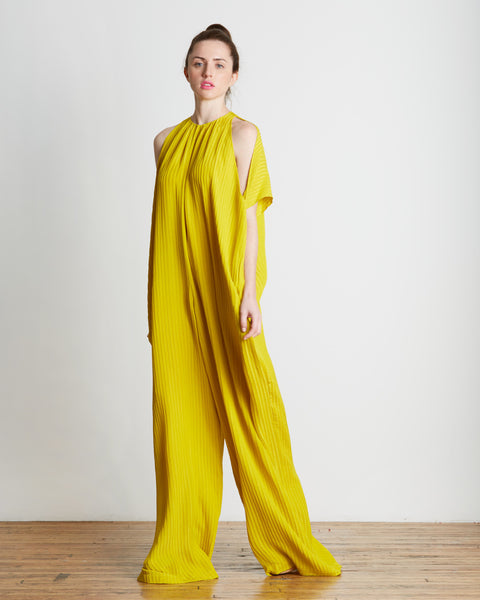 TOME Oversized Matelasse Jumpsuit in Citron | Made in New York