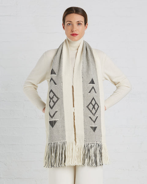 Voz | UN Trust Fund Scarf in Ivory and Grey
