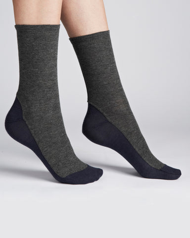 Darner Socks | Bamboo Jersey Socks in Grey and Navy
