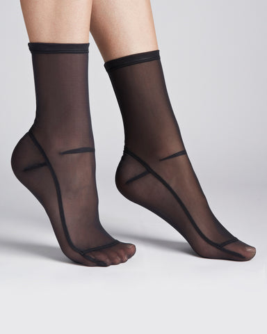 Darner Socks | Sheer Mesh Socks in Black