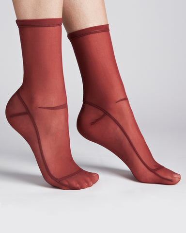 Darner Socks | Sheer Mesh Socks in Red