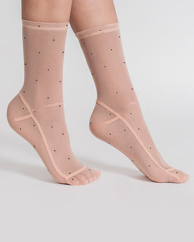 Darner Socks | Polka Dot Mesh Socks in Nude and Black