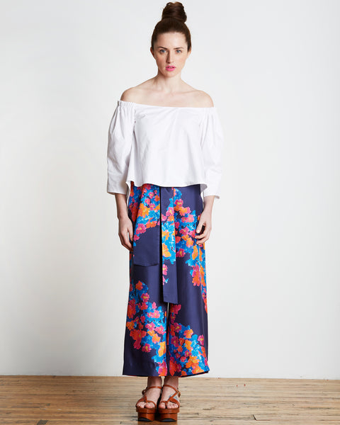 Tilda pant by Tanya Taylor in Indigo blue with diagonal floral print.