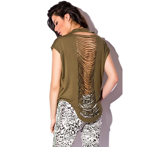 Khaki Stud Shoulder Cutouts Back Tee