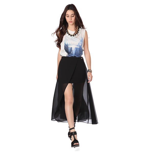 BLACK WRAP MAXI SKIRT IN CHIFFON