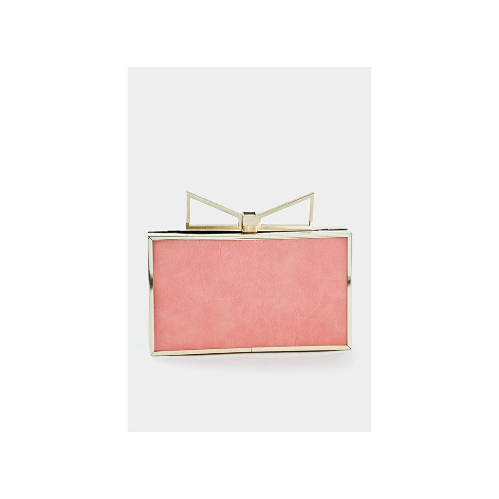 Pink & Gold Metal Cutout Bow Box Clutch