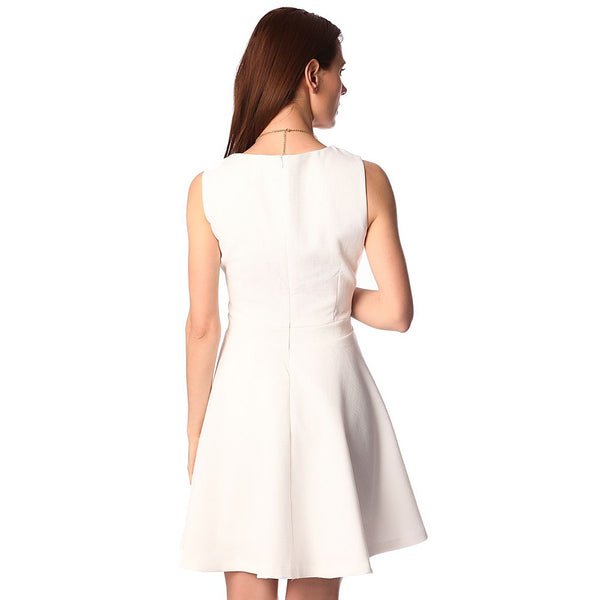 White textured skater dress with belted waist detail