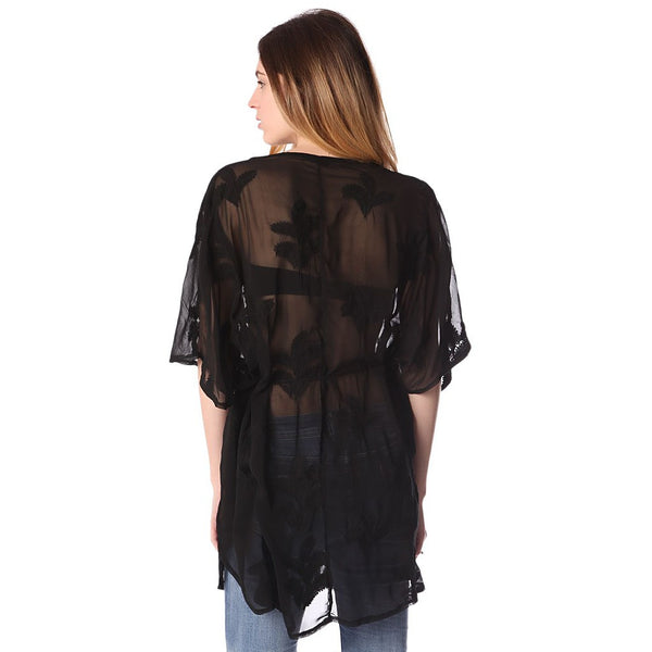 Black tie front tunic with palm embroidery