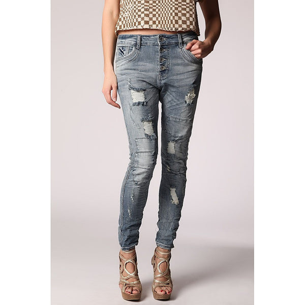 Boyfriend jeans with all over rips & patchwork detail