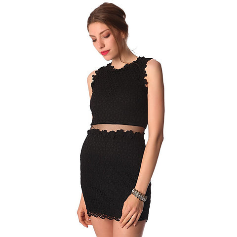Black lace mini dress with mesh insert waist