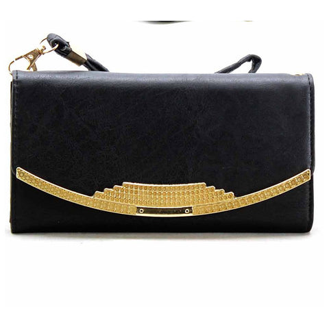 Black & Gold Stone Wristlet Wallet