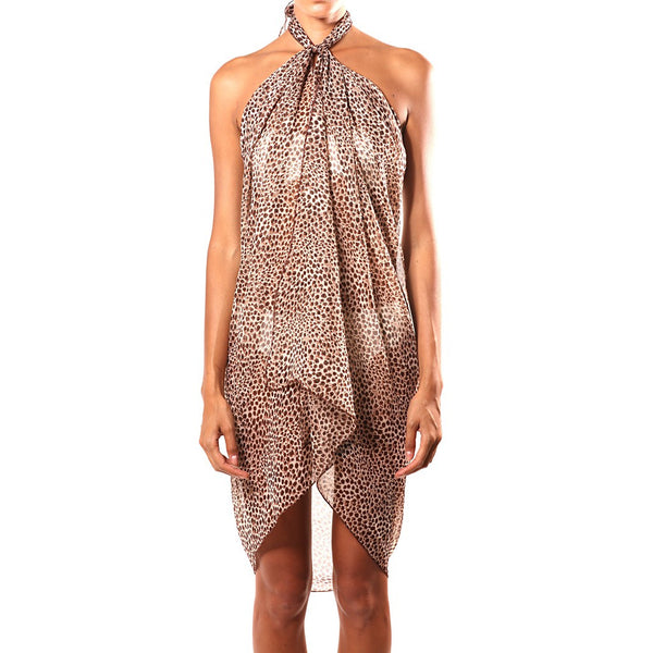 Brown and Black Cheetah Print Silk Sarong