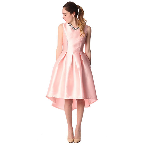 Pink satin midi dress with asymmetric hem