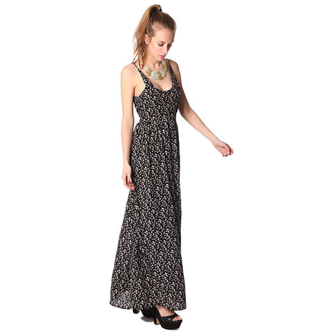 Black printed strappy maxi dress