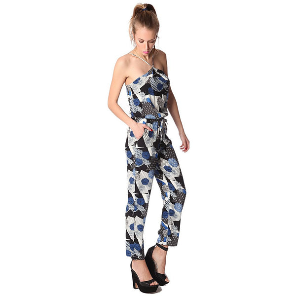 Blue boho printed jumpsuit with halter neck