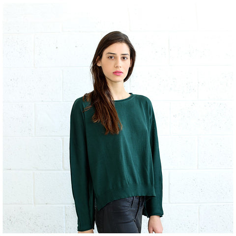 Kimono cut sweater, woman's sweater- Green.