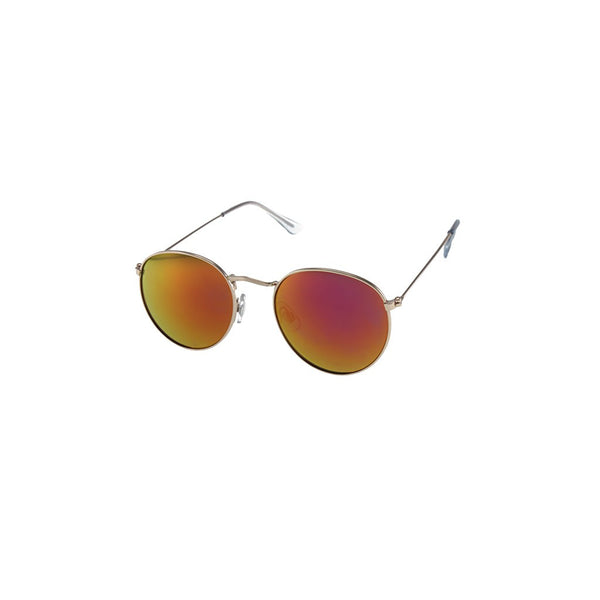 Unisex Round Metal Sunglasses with Thin Temples and Color Mirror Lenses