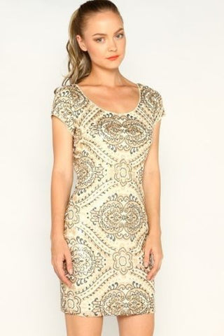Sequined Dress Cream and gold
