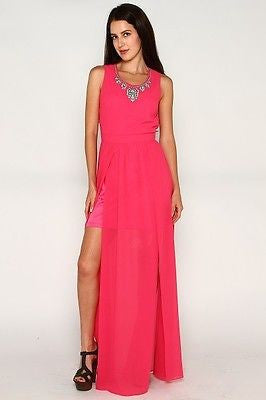 Hot Pink Maxi Dress with Necklace