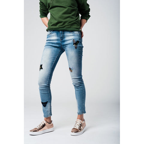 Embroidered Skinny Jeans With Distressing