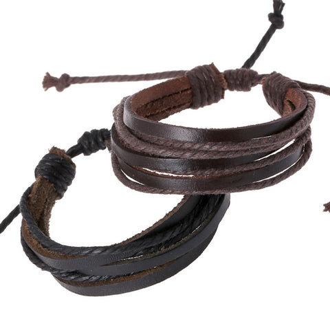 Braided Rope Brown Wrap Leather Bracelets