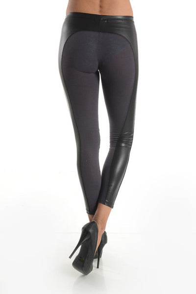 Leggings with leather stripe on side