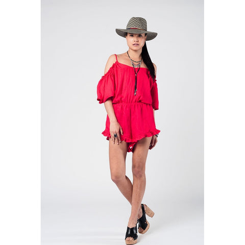 Red cold shoulder romper with ruffles