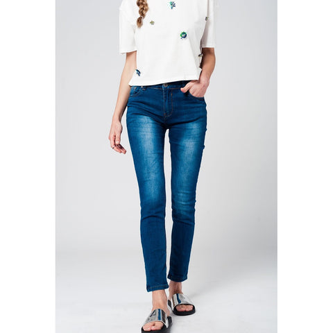Slim Mid Waist Jeans with Mid Wash