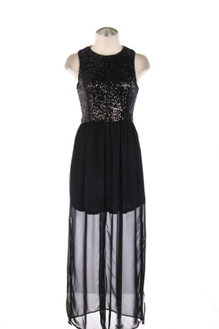 Black Sequined Bodice Maxi Dress