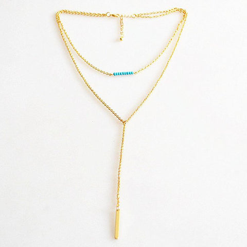 Gold Layered Necklace with turquoise accent