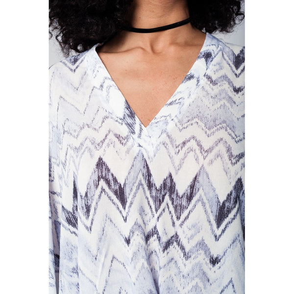 Oversized grey zig zag blouse with cuff details and open shoulder
