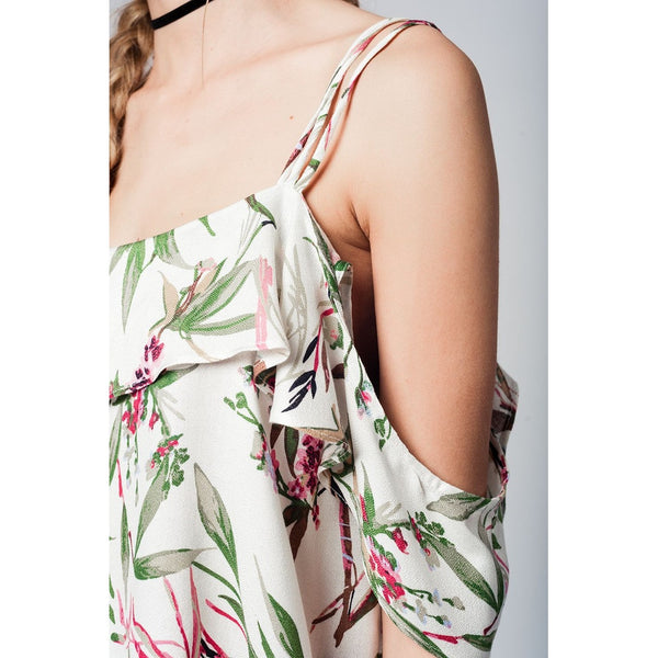 Top with cold shoulder and green leaves print