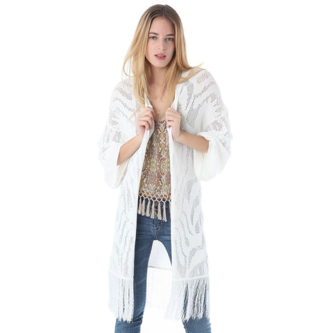 Crochet longline jacket with tassel trim hem