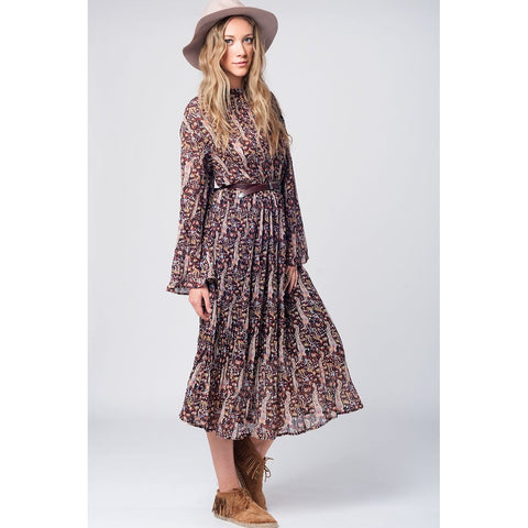 Midi long sleeve dress  with pasley print in burgundy