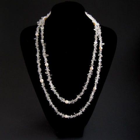 Clear Quartz Necklace with Pearls - Doubled