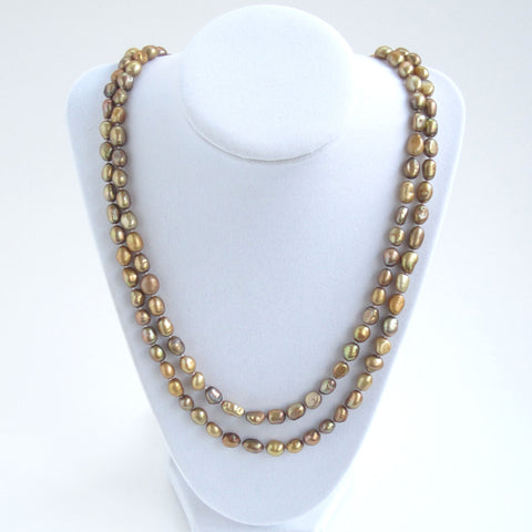 Bronze Freshwater Pearl Necklace - Doubled