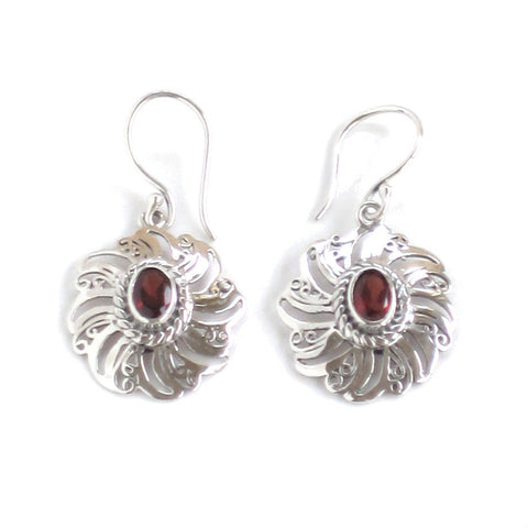 Garnet Earrings with Sunburst Silver Settings - Pair